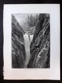 Picturesque Europe C1875 Antique Print. Falls of the Aar at Handeck, Germany